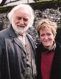 John Thaw and Michelle Magorian on the set of Goodnight Mister Tom